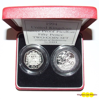 1994 Silver Proof PIEDFORT Fifty Pence 2 COIN SET